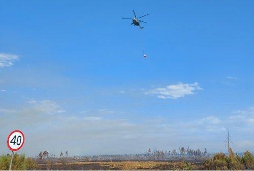 Сегодня лесной пожар на территории Марий Эл с воздуха тушат уже четыре вертолёта
